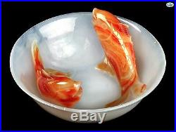 Antique Asian Chinese 1900s Hand Carved White Agate with Orange Koi Fish Bowl
