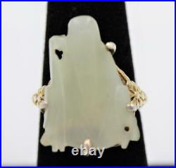 Antique Asian Chinese Shou God Silver Carved White Jade Flower Adjustable Ring