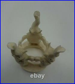 Antique Bovine Carved 8 Layer Chinese Dragon Puzzle Ball & Elephant Stand, 2 d