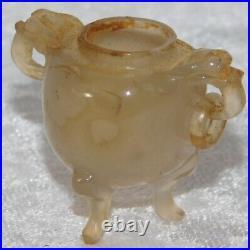 Antique CHINESE 19c Carved Jade Dragon Tripod Censer Pot