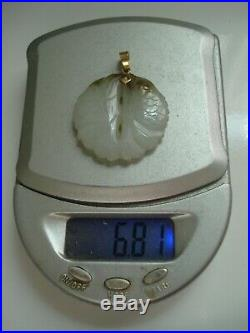 Antique Chinese 1920's 14K Gold Carved Hetian White Jade Fish PendantFree Ship