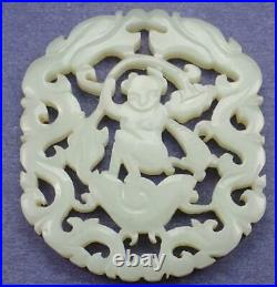 Antique Chinese 19th C. Carved White Jade Boy Dragon Lotus Pendant Plaque Qing