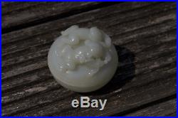 Antique Chinese 20th Century Republic Period Carved White Jade Box Boy & Girl