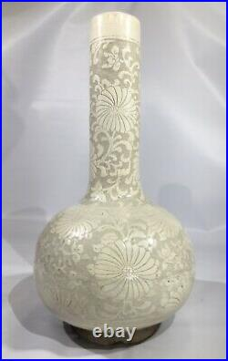 Antique Chinese Blanc de Chine Carved White Lotus Ming Dynasty Vase
