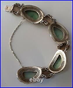 Antique Chinese Carved Green & White Jadeite Silver Enameled Filigree Bracelet