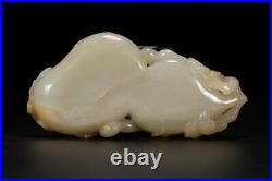 Antique Chinese Carved Hetian Jade Gourd Brush Washer Cup
