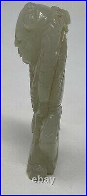 Antique Chinese Carved Mutton Fat Nephrite / Heitian Jade Figurine Man With Lotus