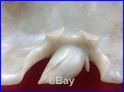 Antique Chinese Carved Soapstone Lotus Leaf Centerpiece Bowl Brush Wash Dish 16