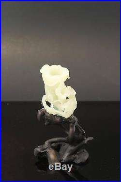 Antique Chinese Carved White He Tian Jade Flower Qing Dynasty