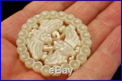 Antique Chinese Carved White Jade Moths Medallion Amulet Pendant D115-06