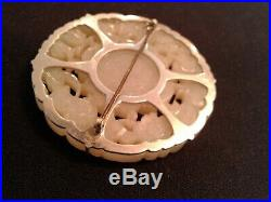 Antique Chinese Carved White Jade Pendant Mounted on Sterling Silver Clip