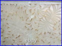 Antique Chinese Carved White Jade Top 2 Section Box