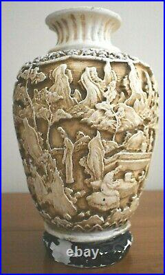 Antique Chinese Deeply Carved Stone Figural Vase Large Size 14 1/4 Tall Painted