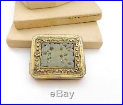 Antique Chinese Export Carved White Jade Sterling Silver Brooch Pin R24