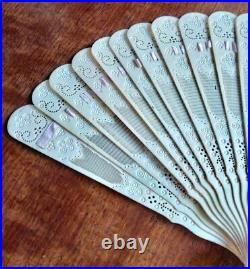 Antique Chinese Export Carved XIX Century Brise Fan Vintage