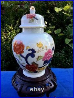 Antique Chinese FAMILLE ROSE Lotus Flower Vase Ginger Jar & Carved Wood Pedestal
