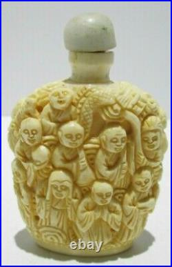 Antique Chinese Hand Carved Detailed FISH BONE Snuff Bottle