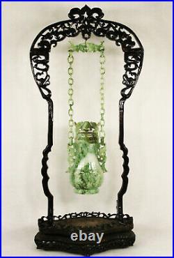 Antique Chinese Hand Carved Jadeite Jade Hanging Lidded Covered Vase