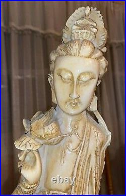 Antique Chinese Kwan Yin Carved Statue Large