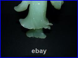 Antique Chinese Light Green Hand Carved Bowenite (Jade Look) Guanyin Figure