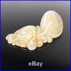 Antique Chinese Mutton Fat Jade White Carved Lingzhi Ruyi Mushroom Netsuke