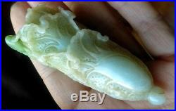 Antique Chinese Natural White -Apple Green Jade Cabbage Fine Carving 77.3 g