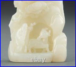 Antique Chinese Rare White Jade Carving Of God Shoulao With A Deer in A Mountain