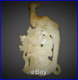 Antique Chinese Republic Pair of Large Carved White Jade Phoenix Birds Sculpture