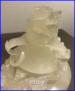 Antique Chinese Semi Transparent White Stone Oil Burner