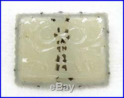 Antique Chinese Silver Carved White Jade Figurals Clip with Box