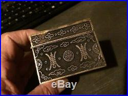 Antique Chinese Silver Filigree Box with Apple Green White Carved Jade Top