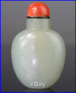 Antique Chinese Snuff Bottle Jade Nephrite White Celadon Carved Qing 18th 19th