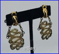 Antique Chinese Sterling Silver & Carved White Jade Filigree Dragon Earrings