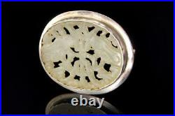Antique Chinese Symbol Carved White Jade Amulet Sterling Brooch Pin A67657