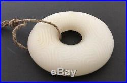 Antique Chinese White Jade Jadeite hand-carved pendant Round