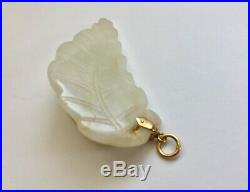 Antique Chinese White/Pale JADE Carving Cat On A Leaf Pendant 14K Gold