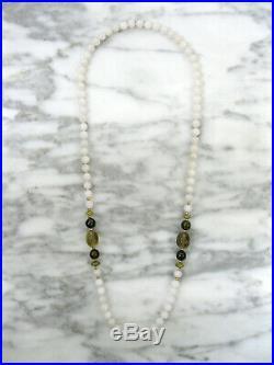 Antique Chinese White Quartz Green Garnet Carved Topaz 14k Gold Beaded Necklace