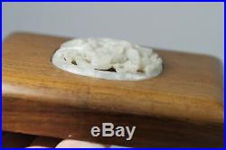 Antique Chinese Yuan Ming Carved Reticulated White Jade Plaque Dragon Chilong