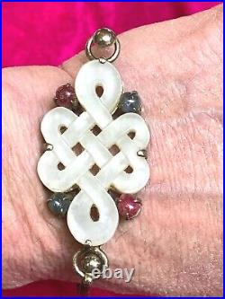 Antique Export ChineseCarved Infinity White JadeRubiesSapphiresSILVER Cuff
