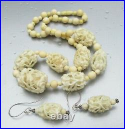 Antique FINE Carved Faux Bovine Celluloid Beaded Necklace & Earrings Set