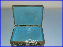 Antique Hand Carved Chinese White Jade Cloisonne Enamel Box