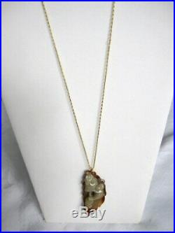 Antique Hand Carved Chinese white Jade Monkey King & Peach Pendant & gold chain
