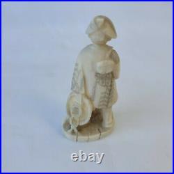 Antique Hand Carved Japanese Bovine Bone Figurine Wanderer Elder Rare Vintage 1