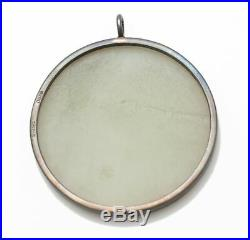 Antique Large Round Plaque Pendant White Jade with Flower Carving