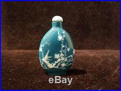 Antique Opium Snuff Bottle Blue & White Cherry Blossoms Carved Wand
