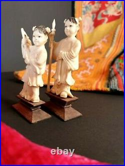 Antique Pair of Carved Chinese Figures on Wooden Pedestals Boy & Girl