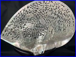 Antique Qing Dynasty Chinese 9 MOP Shell Carving Mother of Pearl Rosewood Base