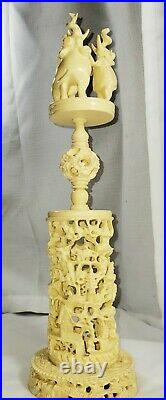 Antique Reticulated Carved 8 Layer Chinese Elephant Puzzle Ball & Stand 17 Tall
