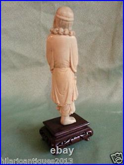 Antique Statue Chinese Hand Carved Figure Old Man Sculpture Wood Stand