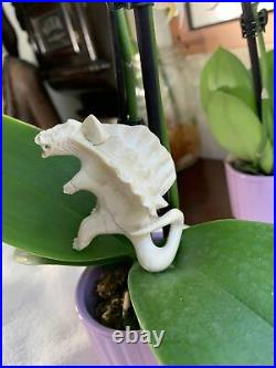 Antique Vintage Hand Carved Chinese Dragon Figure Rare Bovine Bone PRISTINE